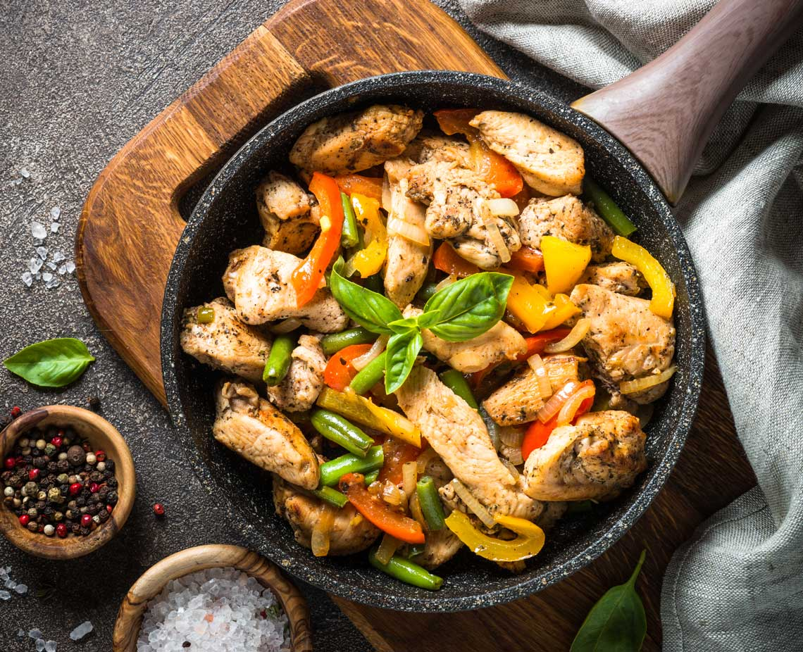chicken and veg in a skillet
